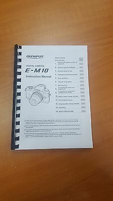 Olympus E-M10 Digital Camera Printed Instruction Manual User Guide 161 Pages A5