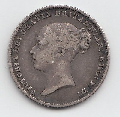 Very Rare 1854 Silver Sixpence 6d - Victoria