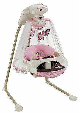 NO TAX! NEW Fisher Price Papasan Baby Deluxe Cradle Swing MOCHA BUTTERFLY Pink
