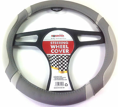 POWER grey car STEERING WHEEL COVER GLOVE UNIVERSAL 37-39CM DELUX soft THE BEST