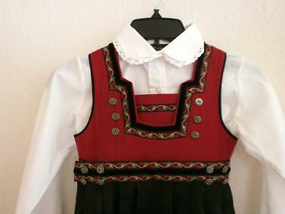 Eu110  5-6 Yr Classy Red Classic Norwegian Festdrakt Bunad From Norway Unused