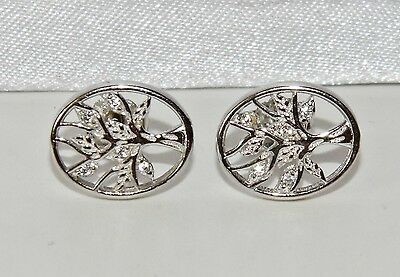 Beautiful Sterling Silver (925) Stone Set Tree Of Life Oval Stud Earrings