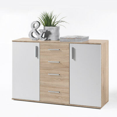 sideboard beton weiss mit 4 schubk sten kommode anrichte woody 32 00227 eur 139 00 picclick de. Black Bedroom Furniture Sets. Home Design Ideas