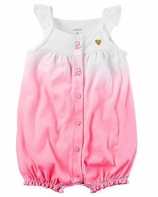 Carters Newborn 3 6 9 12 18 24 Months Pink White Romper Baby Girl Clothes