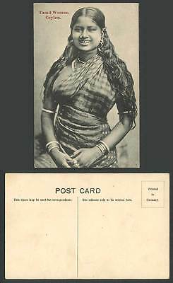 Ceylon Old Postcard Tamil Woman Native Girl Lady wear Nose Ring Smiling Costumes