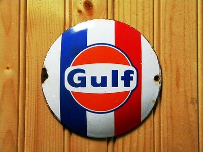 """Gulf Old Porcelain Sign~4-3/4"""" Motor Oil Advertising Gas Station Racing Lubester"""