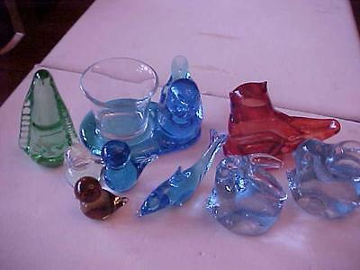 Ron Ray & Ward ART GLASS Bird Figurines  9 Pcs Signed 1991-97 Vintage Blue Red