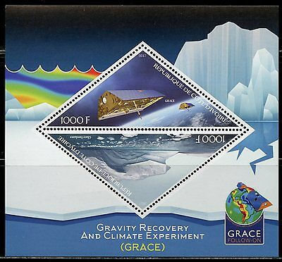 Ivory Coast 2017 Gravity Recovery & Climate Experiment (Grace) S/sheets  Mint Nh