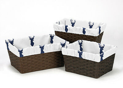 Woodland Deer Organizer Storage Kid Basket Liners Fits Small Medium Large Bins