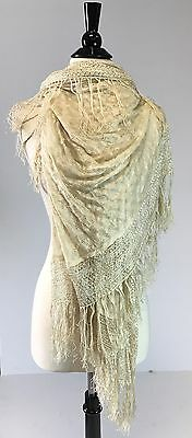 Antique 1920s Silk knit fringe crochet wrap or scarf Good condition