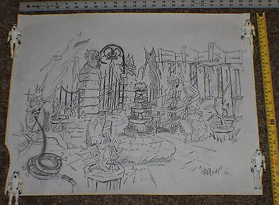 1980 General Mills Monster Cereal Org Pencil Drawing Count Chocula Frankenberry