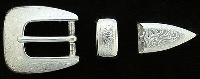 "Western Cowboy Bright Silver Engraved Buckle Set Fits 3/4"" Leather Belts"