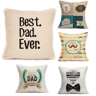 Happy Father's Day Home Throw Pillow Cushion Cover Pillowcase Dad Birthday Gift