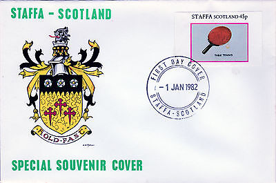 GB Locals - Staffa 3800 - 1982 SPORTS - TABLE TENNIS 45p imperf single on FDC