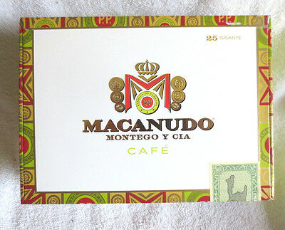 Macanudo Cafe Gigante Paper Covered  Wood Cigar Box - Nice !