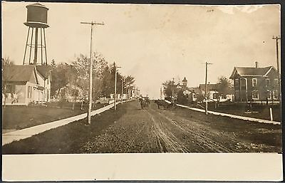 RPPC Real Photo Postcard ~ Linden PA ~ Street View & Water Tower Lycoming County