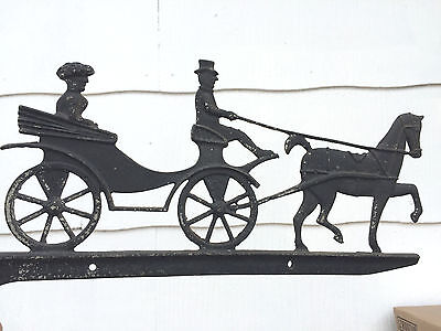 Vintage Wrought Cast Iron House Number Sign Bracket Man Lady Horse and Carriage