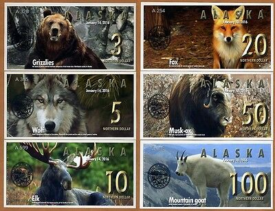 SET Alaska,3;5;10;20;50;100 Northern Dollars, 2016, Private Issue UNC > Animals