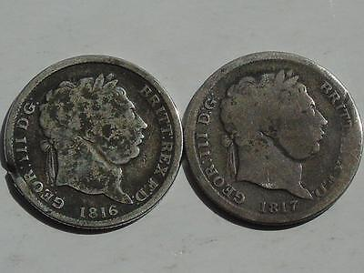 2 George IV Silver Shillings 1816 & 1817 Early Milled, but worn, S3790