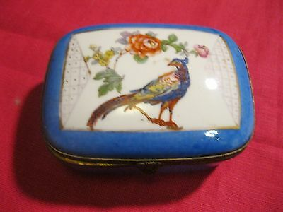 Antique Hand Painted Hinged Lid Blue Porcelain China Trinket Box Made in France