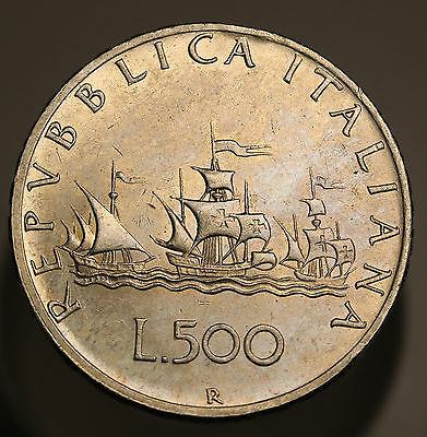 1964 Italy 500 Lire KM# 98 Columbus' Ships Silver Coin Some Luster gEF/AU
