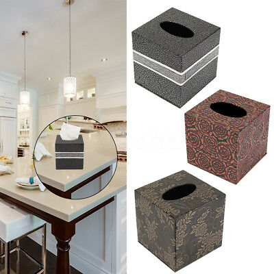 Square PU Leather Home Room Car Hotel Tissue Box Cover Paper Napkin Holder Case