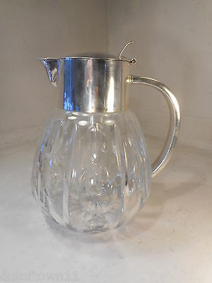 Quality Silver Plate Cut Glass Lemonade Jug , Decanter  Pitcher , ref 2291