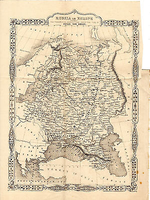 ANTIQUE JOHN RAPKIN MAP -  RUSSIA IN EUROPE - THE GROWTH OF ITS EMPIRE (c.1860)