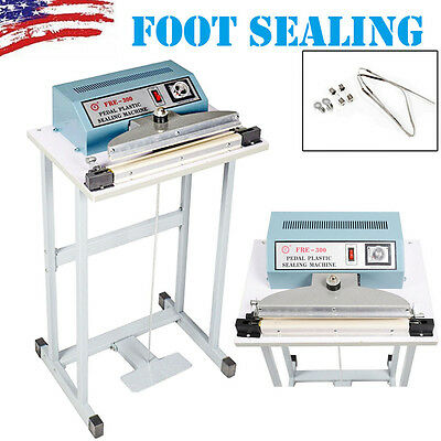 "New 110V 12"" Foot Pedal Impulse Sealer Heat Seal Machine Plastic Bag Sealing US"