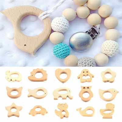 Baby Kids Natural Wooden Animal Shape Handmade Teether Teething Toy Shower Gift