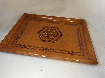 Antique Arts & Crafts inlaid Oak Tray    ref 3028