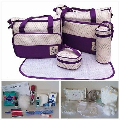 PURPLE Pre-packed 5 Pc Maternity Hospital Changing Bag Mum & Baby (unisex)