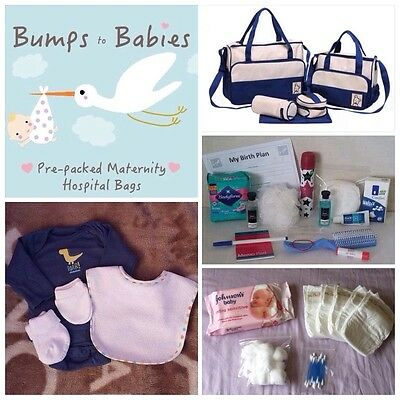 Luxury NAVY BLUE Pre-packed 5 Pc Maternity Hospital Changing Bag Mum & Baby BOY
