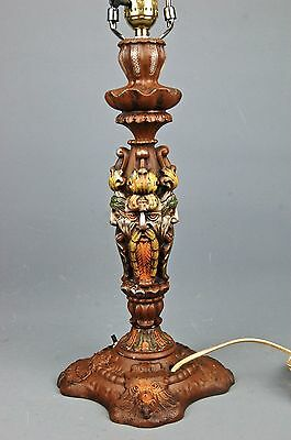 Arts & Crafts Polychrome Metal Table Lamp Base FAUN PAN SATUR H.E. Rainaud Co