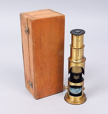 French Antique 19c Brass Lacquer Single Tube Drum Microscope & Travel Box