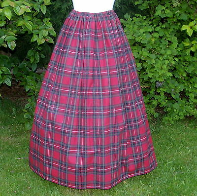 Ladies Victorian / American Civil War costume SKIRT fancy dress cotton tartan