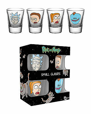 Rick and Morty - Faces - 4-er Set Schnapsgläser 2 cl Ø5 cm Höhe 6 cm