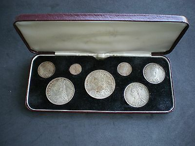 1887 Victoria Jubilee Silver Specimen Cased Coin Set Crown 5/- To Threepence 3d