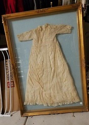 "Antique Vintage Shadow Box Framed Baby Christening Dress 48"" X 34"""