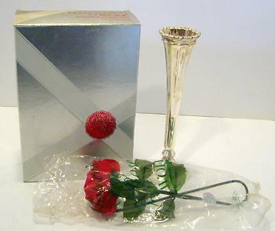 Avon Hudson Manor Silver Plated Bud Vase With Scented Rose
