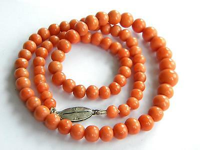 Victorian necklace genuine CORAL beads ~ old coral salmon colour ~