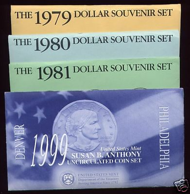 1979 1980 1981 1999 Bu Sba Susan B. Anthony Souvenir Sets!