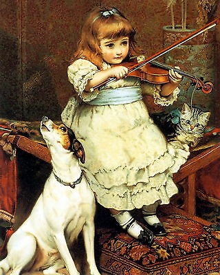 Art Print Victorian Girl on Violin Howling Dog Jack Russell Terrier Kitten Cat