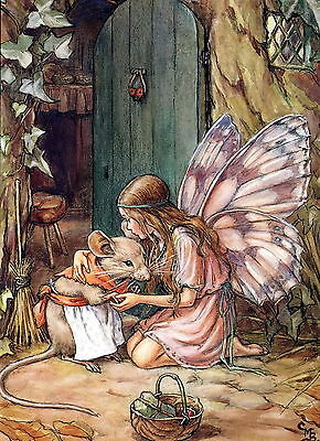 8x10 Print Angel Butterfly Wings Cottage Good Fairy Helps Mrs Mouse Apron Basket