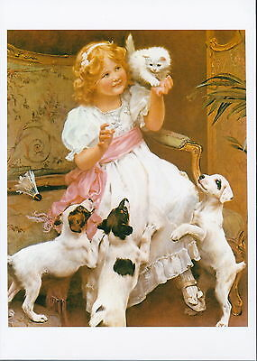 Pet Print Victorian Child Girl with White Kitten Jack Russell Terrier Puppy Dogs