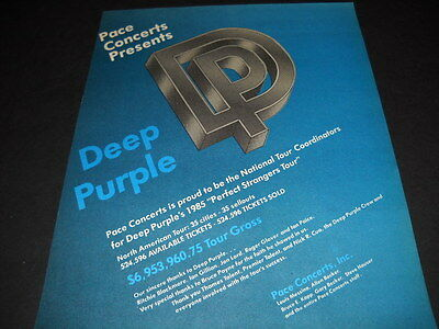 DEEP PURPLE Pace Concert 1985 National Tour Coordinators PROMO POSTER AD mint