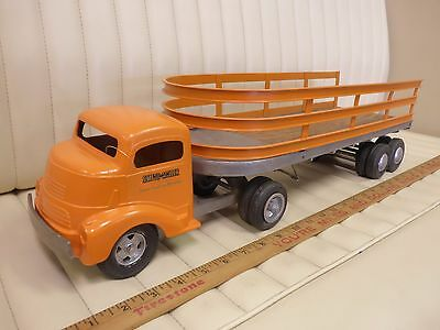 1950s SMITH MILLER Semi Tractor Trailer Toy Pressed Steel Truck - New Paint