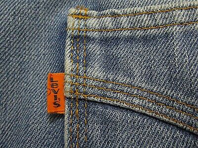 Vtg RARE 1970s Levi's Bell Bottoms 34 x 36 Button Fly ORANGE TAB Embroidered