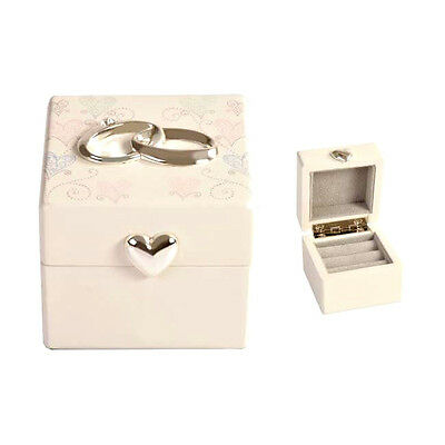 Quality White Wedding Ring Box With Pastel Hearts & Wedding Ring & Heart Accents