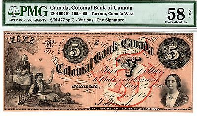 Canada - Colonial Bank - Toronto - $5 1859 - PMG Choice About Unc 58 Net!!